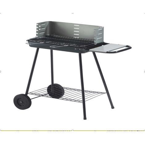 Barbecue à charbon avec tablette et roulettes Karmila - 8 Personnes - Noir - Noir