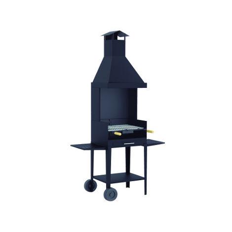 Barbecue à charbon de bois - avec hotte sur chariot - BV-12