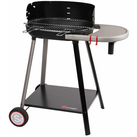 Barbecue à charbon de bois avec tablette intégrée Noir 85 x 54 x 89 cm - Noir
