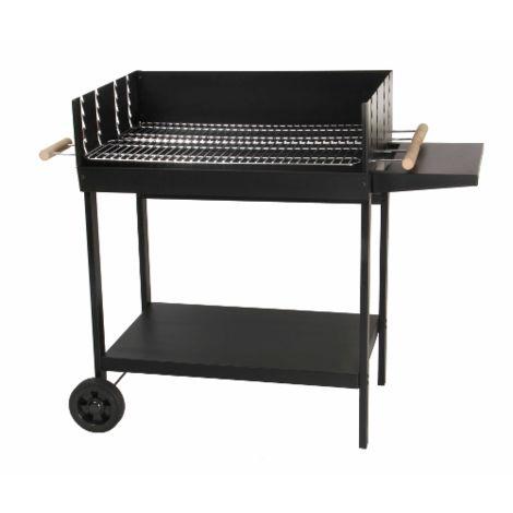 Barbecue à charbon de bois - cuve acier - avec plateforme et tablette - GALICIA