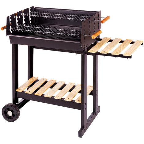Barbecue à charbon de bois en acier et bois Noir/bois 88.00 cm x 46.00 cm x 90.00 cm - Noir/bois