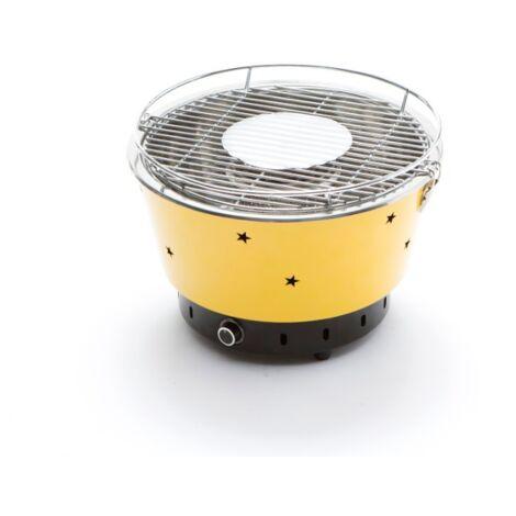 Barbecue à charbon de bois portable jaune avec ventilateur électrique   Jaune