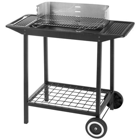 Barbecue à charbon de bois rectangulaire en acier Noir 86.00 cm x 47.00 cm x 87.00 cm - Noir