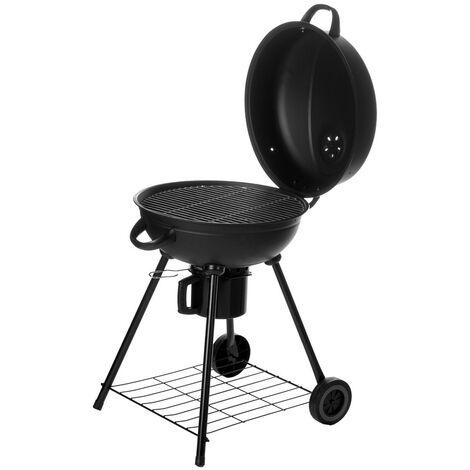 Barbecue à charbon de bois rond avec couvercle Noir 54.00 cm x 57.00 cm x 92.00 cm
