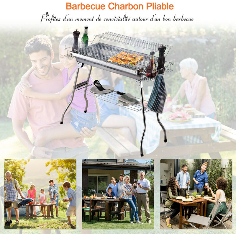 Barbecue à charbon pliable portable BBQ grill sur pied avec