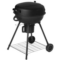 Barbecue à charbon rond avec couvercle 2 roues noir - L 54 x l 57 x H 92