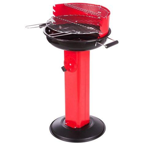 Barbecue à charbon rond base avec entrée d'air rouge - L 58 x l 54 x H 88