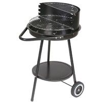 Barbecue à charbon rond noir 2 roues - L 47 x l 70 x H 78