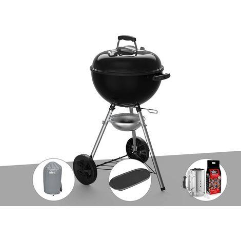 Barbecue à charbon Weber Original Kettle E-4710 47 cm + Housse + Plancha + Kit Cheminée