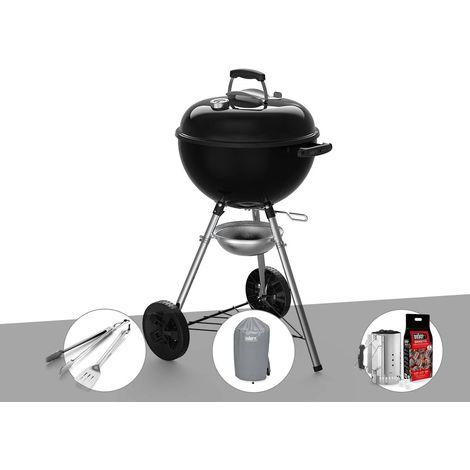 Barbecue à charbon Weber Original Kettle E-4710 47 cm + Kit Ustensiles + Housse + Kit Cheminée