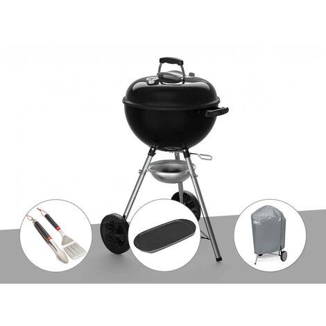 Barbecue à charbon Weber Original Kettle E-4710 47 cm + Kit ustensiles + Plancha + Housse