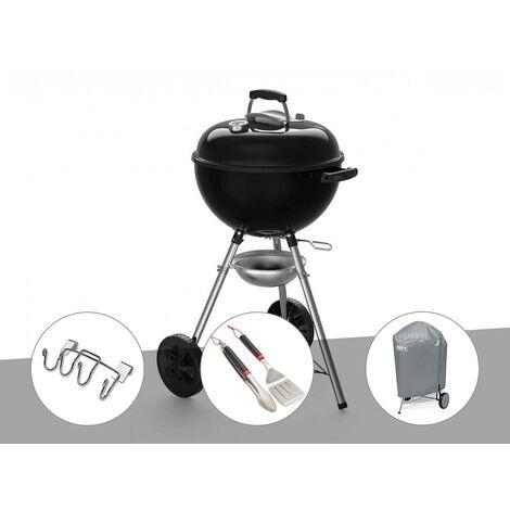 Barbecue à charbon Weber Original Kettle E-4710 47 cm + Support accessoires + Kit ustensiles + Housse