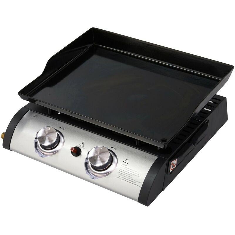 Barbecue Portatile a Gas 5Kw 2 Bruciatori da Tavolo Esterno Piastra Campeggio