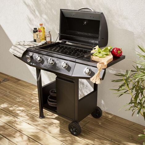 """main image of """"Barbecue a gas - Treville - Barbecue 3 brucciatori + 1 fuoco laterale nero, con termometro - Nero"""""""
