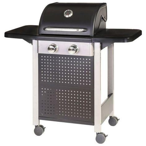 Barbecue à gaz 2 brûleurs mobile 4 roues - L 52 x l 116 x H 110 - Noir
