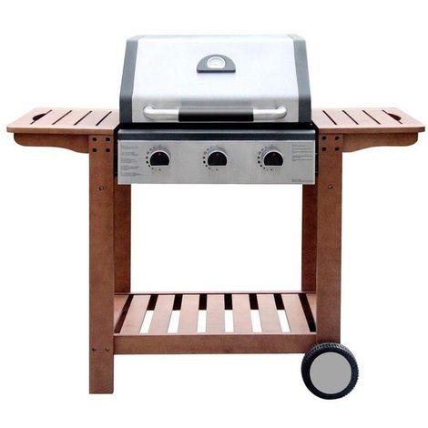 Barbecue à gaz 3 brûleurs 2 roues charriot bois - L 61 x l 136 x H 114