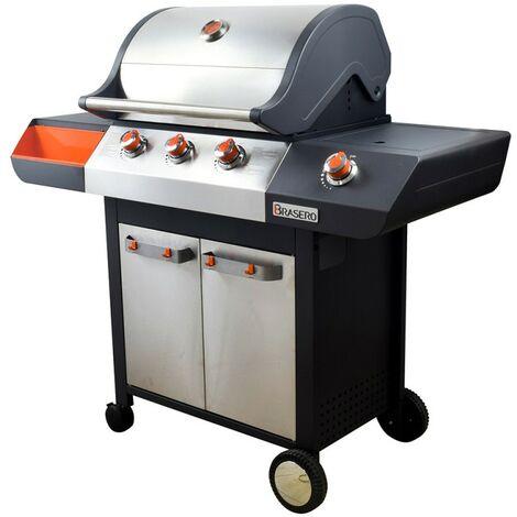 Barbecue à Gaz 4 feux 12kW FAVEX BRASERO EMMA Inox Flexigrill 10 Personnes + Housse de protection incluse