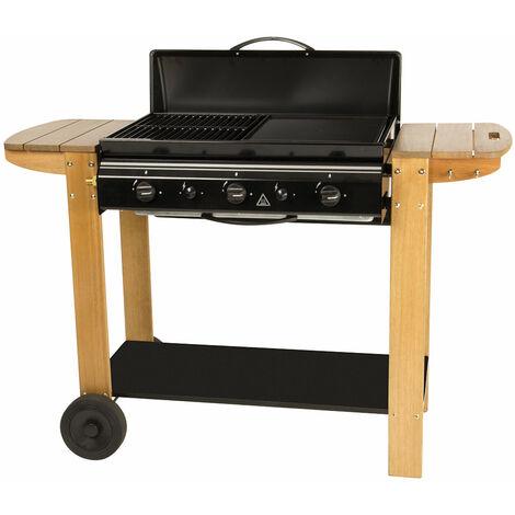 Barbecue à gaz 50% grille et 50% plancha Bois 126 x 54 x 89 cm