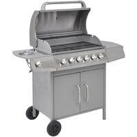 Barbecue à gaz 6 + 1 zone de cuisson Argenté