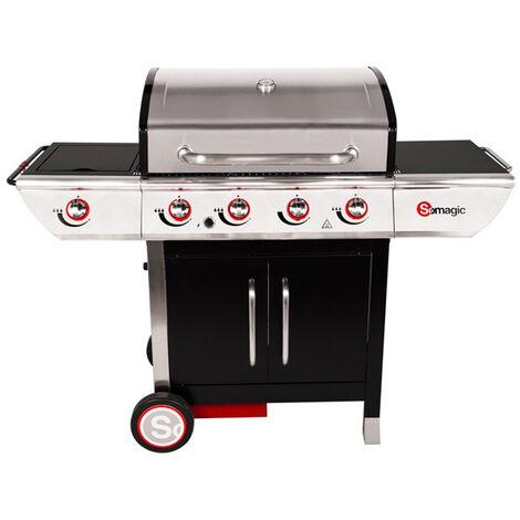 Barbecue à gaz avec chariot Manhattan 450GPI, 4 brûleurs, 1 réchaud latéral et plancha - Somagic