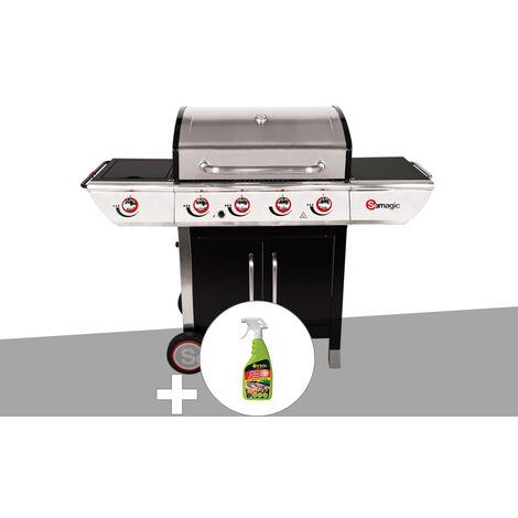 Barbecue à gaz avec chariot Manhattan 450GPI + plancha + Dégraissant pour barbecue