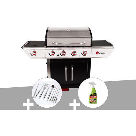 Barbecue à gaz avec chariot Manhattan 450GPI + plancha + Malette de 8 accessoires inox + Dégraissant pour barbecue