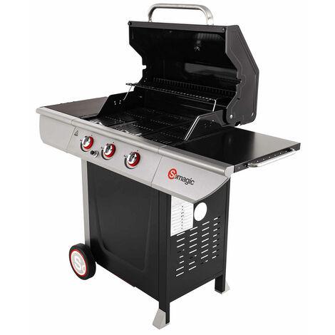 Barbecue à gaz avec couvercle de cuisson Inox 141,5 x 58,5 x 114,5 cm