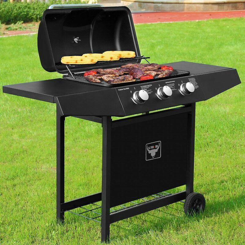 Barbecue à gaz BBQ El Toro® avec 3 brûleurs roues acier