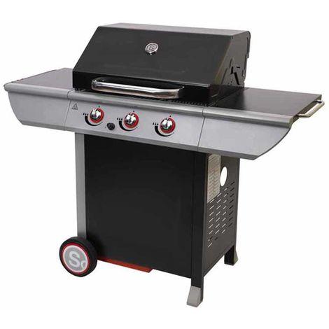 Barbecue à gaz en acier laqué, grill, barbecue de jardin - Dim : 141,5 x 58,5 x 114,5 cm