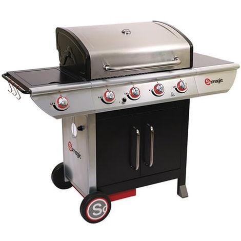 Barbecue à gaz en acier laqué, grill, barbecue de jardin - Dim : 150 x 57,5 x 115,5 cm
