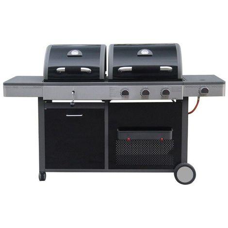 Barbecue à gaz et charbon 3 brûleurs 4 roues - L 58 x l 179 x H 105 - Noir