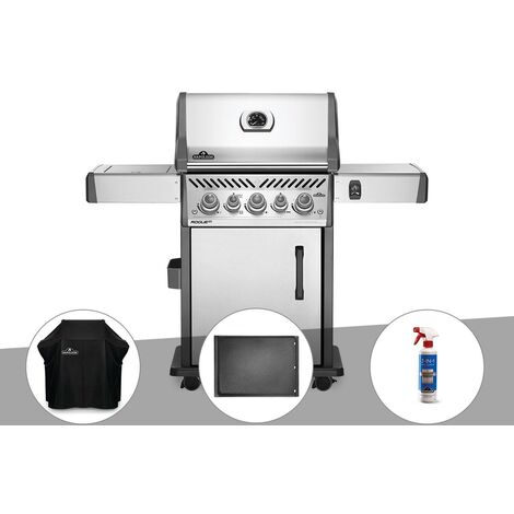 Barbecue à gaz Napoleon Rogue SE 425 inox 3 brûleurs + Housse de protection + Plancha + Nettoyant grill 3 en 1