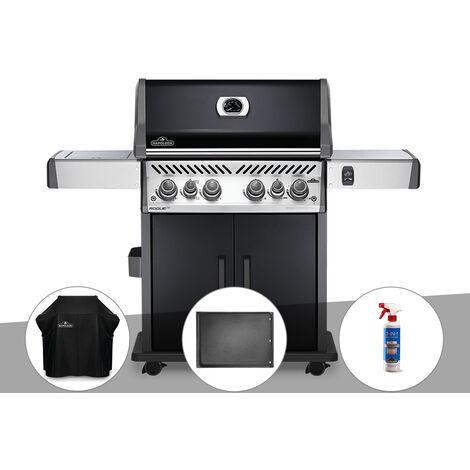 Barbecue à gaz Napoleon Rogue SE 525 noir 4 brûleurs + Housse de protection + Plancha + Nettoyant grill 3 en 1