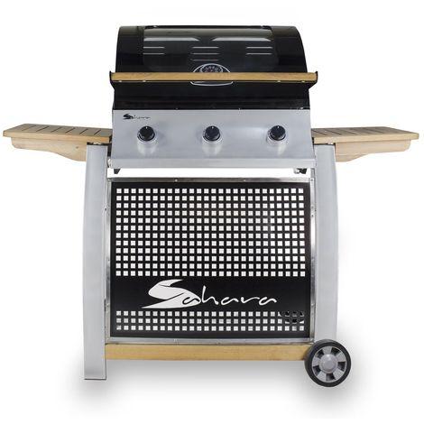 Barbecue à gaz OAK SAHARA 13500W 3 brûleurs inox Grille fonte Thermomètre Connectique gaz inclus