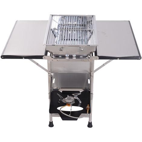 Barbecue à gaz ou à charbon 2 en 1 pliable 4 tablettes latérales, étagère et couvercle acier inox. alu. gris