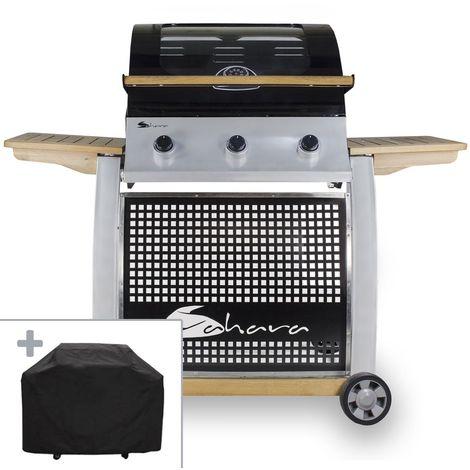 Barbecue à gaz SAHARA 13.5KW 3 brûleurs inox Grille fonte XXL Vitre + Thermomètre + Housse + Connectique