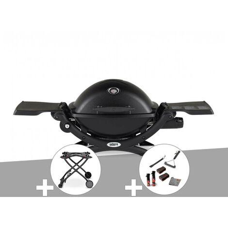 Barbecue à gaz Weber Q 1200 noir + Chariot + Kit de nettoyage