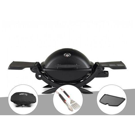Barbecue à gaz Weber Q 1200 noir + Housse + Kit ustensiles + Plancha