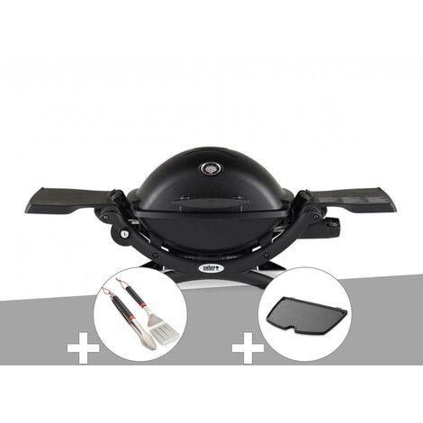 Barbecue à gaz Weber Q 1200 noir + Kit ustensiles + Plancha