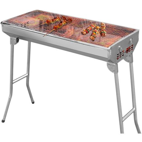Barbecue à Charbon Jardin Table en Acier Extérieur Pliant inoxydable 73 x 33.5 x 70 cm