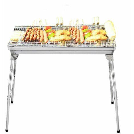 Barbecue à Charbon Pliant Jardin Table en Acier inoxydable Extérieur