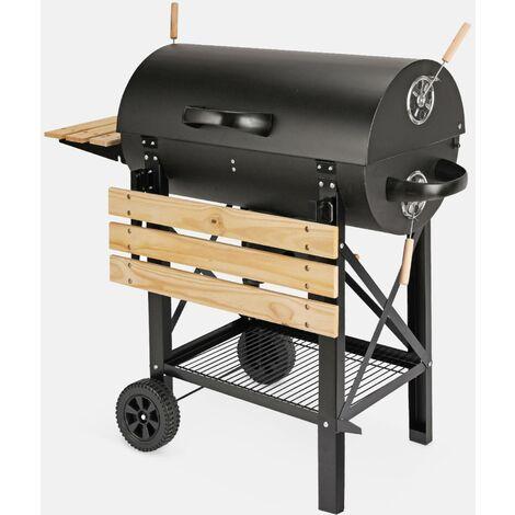 Barbecue américain charbon de bois - Serge noir - Smoker américain avec aérateurs, récupérateur de cendres, fumoir