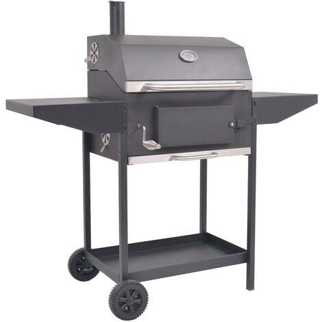Barbecue au charbon de bois avec étagère inférieure Noir