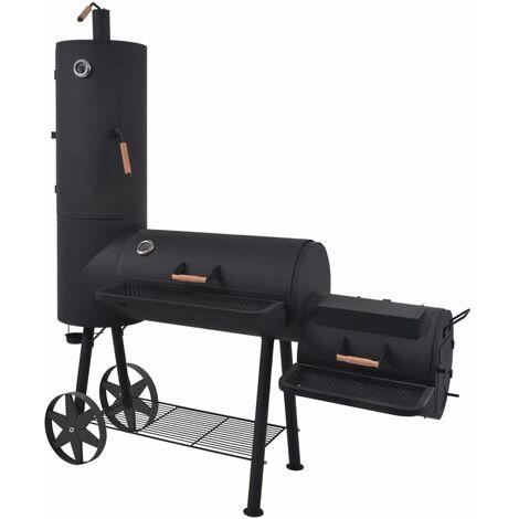 Barbecue au charbon de bois avec étagère inférieure Noir XXL