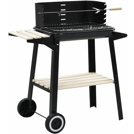 Barbecue au charbon de bois avec roulettes