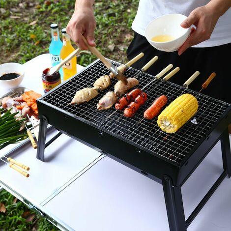 Barbecue au Charbon de Bois, Barbecue Portable Barbecue en Acier Inoxydable Pliable Barbecue Fumeur Grill Barbecue Bureau Parfait pour Le Camping Pique-Nique en Plein air Garden Party