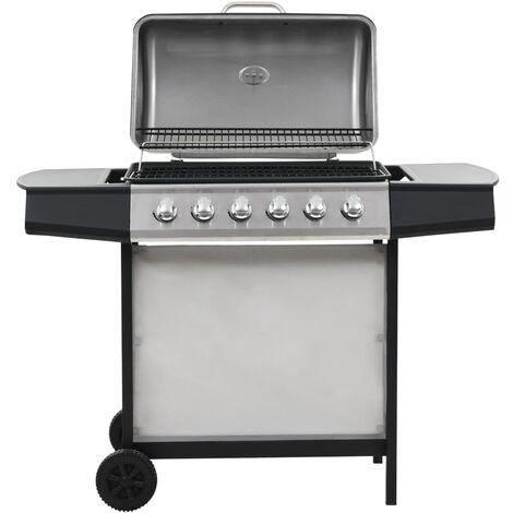Barbecue au gaz avec 6 zones de cuisson Inox Argenté