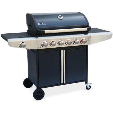 barbecue au gaz bazin 6 anthracite 6 br 251 leurs 1 feu lat 233 ral avec tablettes lat 233 rales et