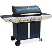 Barbecue au gaz Bazin 6 Anthracite, 6 brûleurs + 1 feu latéral avec tablettes latérales et thermomètre