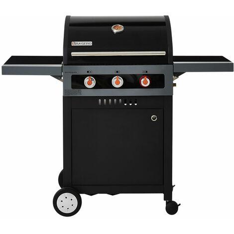 Barbecue au gaz BRASERO Boston Black 3K Turbo - 3 brûleurs dont 1 Turbo Zone, Noir